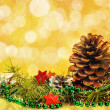 Christmas decorations card pine pines spruce twig white stars — Foto de Stock