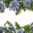 Christmas decorations background pine pines spruce twig white — Stock Photo