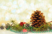 Christmas decorations card pine pines spruce twig white stars — Stock Photo