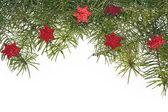 Decorazioni di Natale sfondo stella stelle abete rosso ramoscello verde — Foto Stock