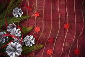 Weihnachtskarte mit kiefern und fichten-zweig — Stockfoto