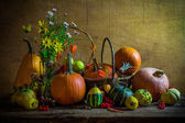 Halloween autumn fall pumpkin setting table still life vintage — Stock Photo