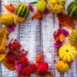 Autumn fall background table setting background vegetables fruit — Stock Photo