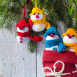 Snowmen board wooden Christmas winter plush team family — Stock Photo