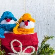 Snowmen board wooden Christmas winter plush duo — Stock Photo