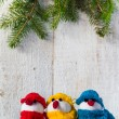 Snowmen board wooden Christmas winter plush trio — Stock Photo