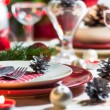 Christmas xmas eve table setting supper — Stok fotoğraf #35751481
