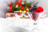 Christmas xmas eve table setting — Stock Photo