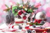 Christmas xmas eve table setting — Stock Photo