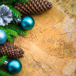 Christmas tree spruce pine wooden Christmas balls — Foto Stock