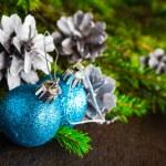 Christmas tree spruce pine wooden Christmas balls — Stock Photo