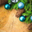 Christmas tree spruce pine wooden Christmas balls — 图库照片