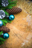 Christmas tree spruce pine wooden Christmas balls — Stock Photo