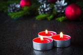 Christmas tree candle wooden Christmas — Photo