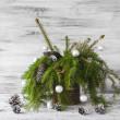 Christmas tree spruce green wooden — Foto Stock