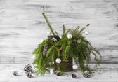 Christmas tree spruce green wooden — ストック写真