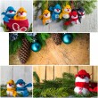 Stock Photo: Christmas collage glass ball snowman candle lights