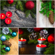 Christmas collage glass ball snowman candle lights — Stock Photo