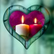 Heart frame border window wooden lighted candle — Stockfoto