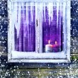 Window wall Christmas lighted candles — Stock Photo