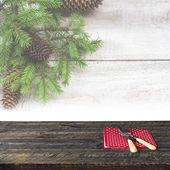 Christmas wooden table festive tableware — Stockfoto