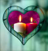 Heart frame border window wooden lighted candle — Stock Photo