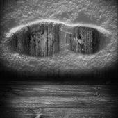 Background wooden panel boards grey shoe print snow — Stock Photo