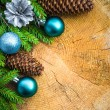 Christmas tree spruce pine wooden Christmas balls — Stockfoto