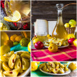 Stock Photo: Collage tincture quince fruit alcohol intake