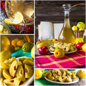 Collage tincture quince fruit alcohol intake — Stock Photo