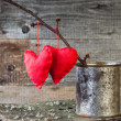 Two Red Hearts twig board rusty tin — Stock Photo