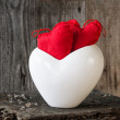 Two Red Hearts twig board white cup — Stock Photo #37307107