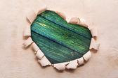 Frame Heart paper border shape dest old wooden — Stok fotoğraf