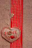 Valentine background hand-sewn heart texstile — Stockfoto