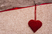 Valentine background hand-sewn heart texstile — Stock Photo