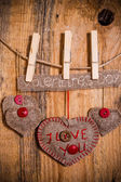 Valentine background hand-sewn heart wood wooden — Stok fotoğraf