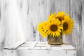 Background still life flower sunflower wooden white vintage — Stock Photo