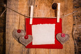 Valentine background hand-sewn heart wood wooden — Stock Photo