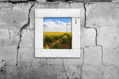 Window wall old landscape windmill abstract wall cracked — Stock Photo