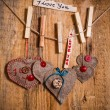 Stock Photo: Valentine background hand-sewn heart wood wooden