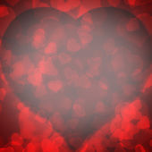 Red background blurred lights heart — 图库照片