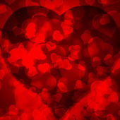 Red background blurred lights heart — Stock Photo
