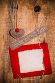 Valentine background hand-sewn heart wood wooden — Stok fotoğraf