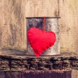 Stock Photo: Heart hung rusty tin