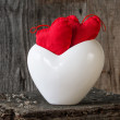 Two Red Hearts twig board white cup — Stock Photo #38961931