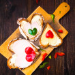 Valentine sandwiches breakfast lovers wooden — Stockfoto #38964765