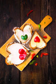 Valentine sandwiches breakfast lovers wooden — Stock Photo