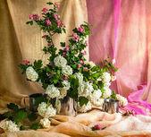 Still life bouquet viburnum hawthorn — Stock Photo