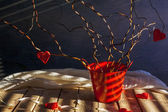 Still life hearts twigs tree love — Stock Photo