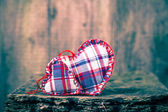Two hearts wooden board — Stock fotografie